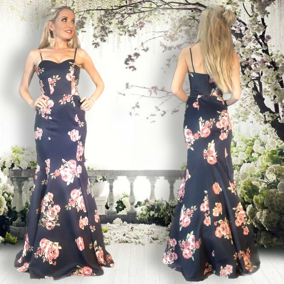 B Darlin Dresses Navy Blue Pink Floral Pattern Mermaid Prom Dress